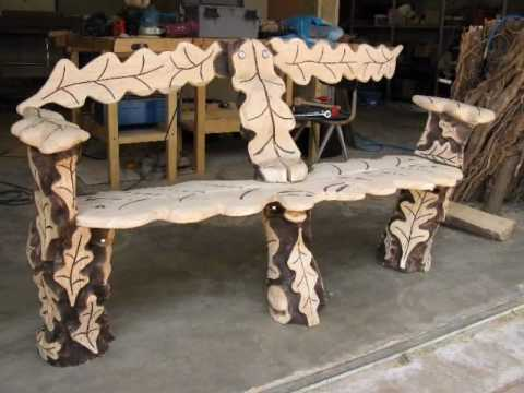 Chainsaw Carving - Oak Log Bench Woodworking Project