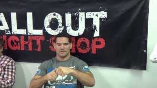 Allout Fight Shop http://www.alloutfightshop.comCheck out Chris Wiedman - the current UFC middleweight champion perform some interesting magic tricks while visiting our store down here in Miami!0:10 The Pen Trick!0:15 The Water Bottle Cap Trick!  If you like this and you would like to see the 7 pennies trick - Subscribe to our channel and give us a thumbs up!!!Connect with us:http://www.facebook.com/AlloutFightShophttp://www.twitter.com/AlloutFightShophttp://www.instagram.com/AlloutFightShophttp://plus.google.com/+AlloutFightShopFor more information about Bad Boy - the official sponsor for Chris Weidman check out our Bad Boy category http://www.alloutfightshop.com/bad-boy/