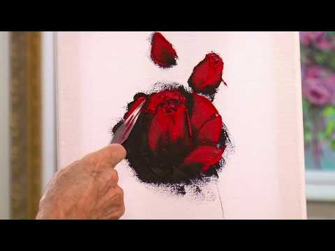 How to Paint a Rose with Pallet Knife – Quick Painting technique Video