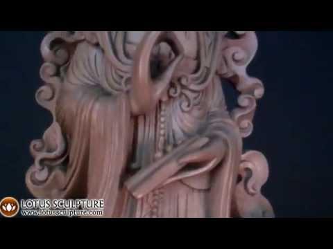 SOLD Natural Tree Root Kwan Yin Statue 56