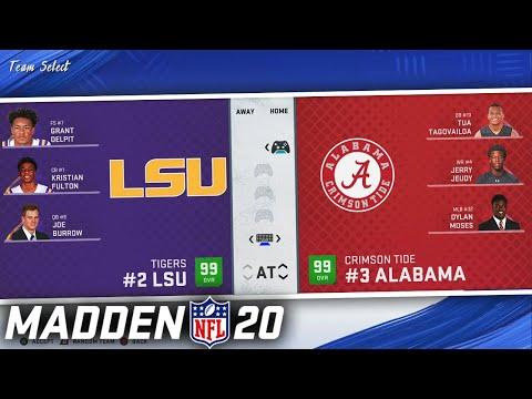Alabama vs LSU, but its in Madden