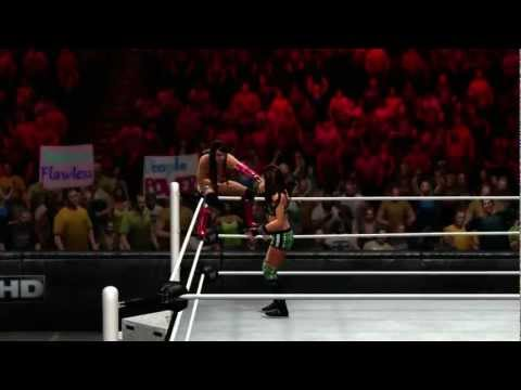 finisher - Layla hits the Lay-Out on AJ Lee in WWE '13.