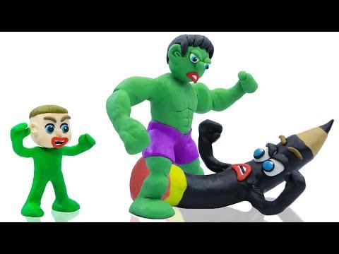 LUKA BABY MEETS SUPERHERO DRAWING  Play Doh Cartoons For Kids Animation