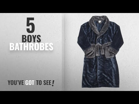 Top 10 Boys Bathrobes [2018]: Childrens Boys Kids Robe Dressing Gown Plush Contrast Nightwear