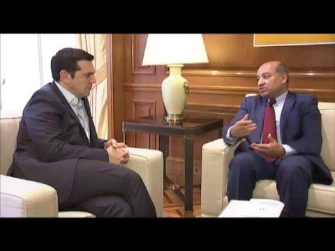 Συνάντηση Πρωθυπουργού με Πρόεδρο Ευρωπ. Τράπεζας Ανοικοδ. και Ανάπτυξ. (EBRD), Σούμα Τσακραμπάρτι
