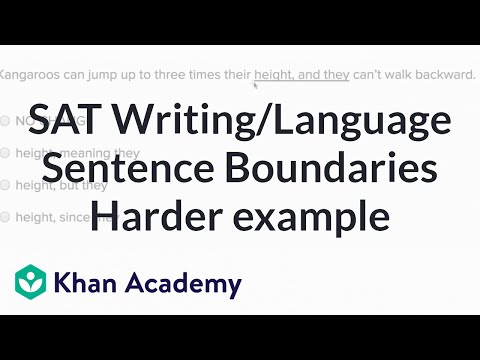 Writing Sentence Boundaries Harder Example Video Khan Academy