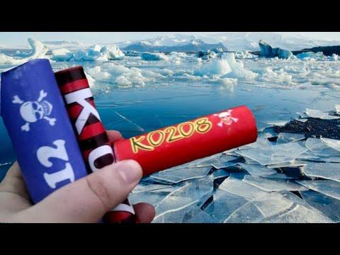 Взрываем Петарды подо льдом и на льду | Взрыв петард в воде и на воде | Взорвали петарду Корсар
