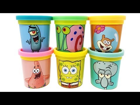 6 SpongeBob SquarePants Play-Doh Can Heads & Toys Spongebob Patrick Squidward Snail Sandy Plankton