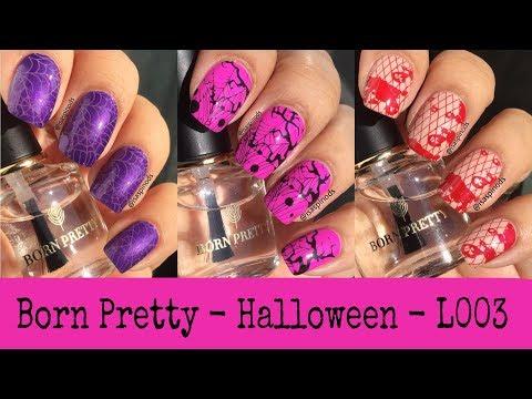 Decorados de uñas - Decoraciones de Uñas para Halloween Usando la Placa Born Pretty Halloween-L003