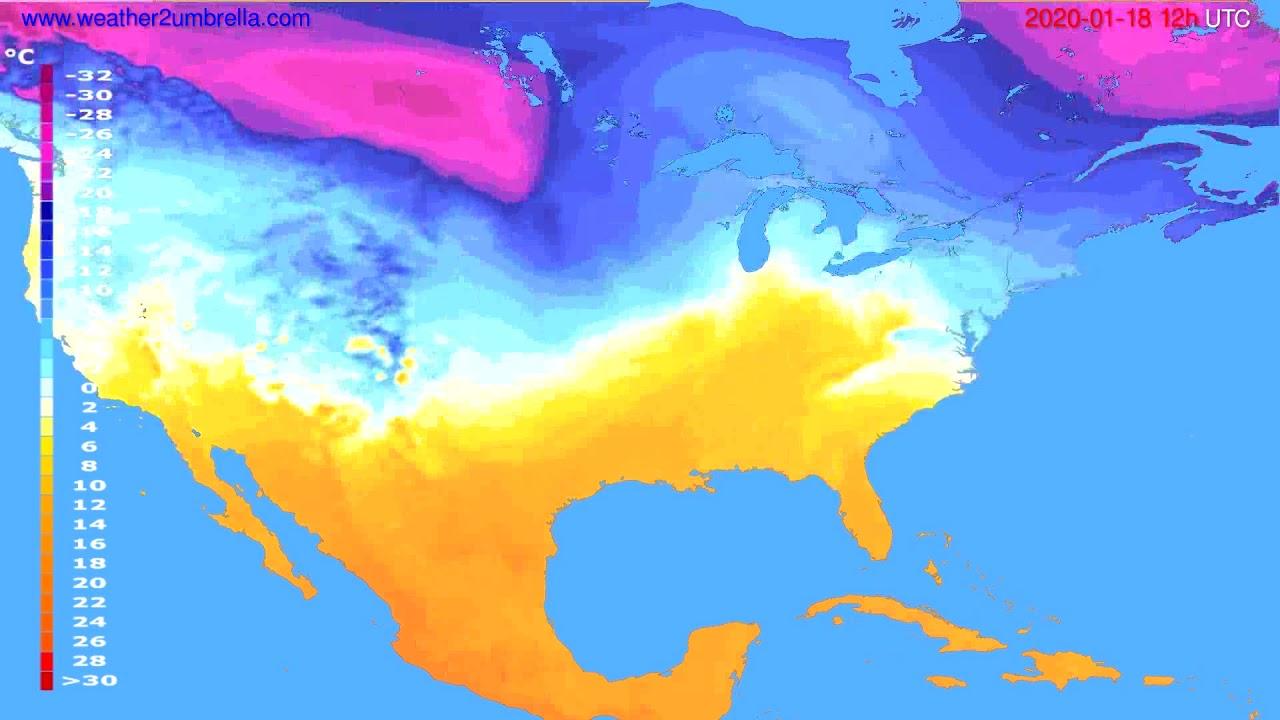 Temperature forecast USA & Canada // modelrun: 12h UTC 2020-01-17