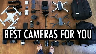 The Best Camera and Equipment of 2017 is right here. Whether you're starting a vlog or wanting to make cinematic films, this video will show you the best cameras for YouTube, short films and photography. Choosing the right camera equipment is very important and by the end of this video, I believe you will know which camera is best for you! In this video I cover the Canon G7X, M5, 1DX Mk2, 5D, Sony A7Sii, Gopro, DJI Phantom 4 Pro, Mavic, GH4, GH5, Ronin M, tons of lenses and many more cameras and gear!Best Camera if you want to start a vlog: http://amzn.to/2tTipSDBest Camera for slow-mo and 4K: http://amzn.to/2rWgHTKBest Camera for photography: http://amzn.to/2rH9l2uBest Camera for Beginners and vloggers @9:13Best Camera for Semi Pro - Pro @25:18Best lenses @28:12Best Drone @38:40Best Gimbal @42:17Also, watch my camera guide for travelers and vloggershttps://www.youtube.com/watch?v=Kuq50cVSFbw&t=4sALL MY EQUIPMENT IS LISTED HERE :)-------------------------------------Vlog Camera:Canon G7X mk1 http://amzn.to/29Vya4HExtra Batteries I use http://amzn.to/2s06alCRX100 Mk5 http://amzn.to/2sZbhaFMemory Card http://amzn.to/29PjPD0-------------------------------------GH4 Body http://amzn.to/2tTcAo4GH4 ZOOM lens 14-140mm http://amzn.to/2ao0Tx3GH4 with 14-140 (best value) http://amzn.to/2rHx2rxGH4 Cinematic Prime Lens http://amzn.to/29PhAFNExtra Batteries I use http://amzn.to/2aLr412Memory Card http://amzn.to/29PjPD0-------------------------------------Sony A7Sii: http://amzn.to/2s0l0IWSony A7Rii: http://amzn.to/2tTdscf-------------------------------------My Fav Camera of all timeCanon 1DX Mk2 http://amzn.to/2s0gCtiCFast Memory Card http://amzn.to/2s0jNkO1DX Battery http://amzn.to/2t08b5X-------------------------------------Best Photography Cameras5D Mk2 http://amzn.to/2s0vYxX5D Mk 3 http://amzn.to/2s0dYUM5D Mk 4 http://amzn.to/2s0nTcD-------------------------------------Full Frame Lenses (1DX, 5D, A7SII)Canon 16-35 F2.8 http://amzn.to/2s0riIvCanon 24-70 F2.8 http://amzn.to/2s0