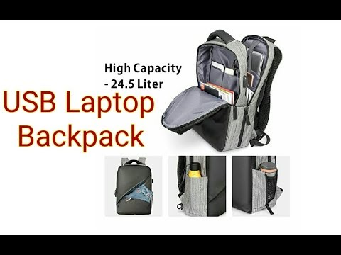 USB Laptop Backpack by BuyAgain- Lightweight, Waterproof, USB port, fits 15.6