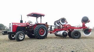 Massey Ferguson 9500 58 hp Tractor with16 *16  Disc Harrow Operations
