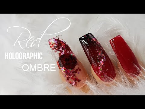 Acrylic nails - Arylic Nails  Red to Black Ombre  Glitter and 3D Rose  Simple Design