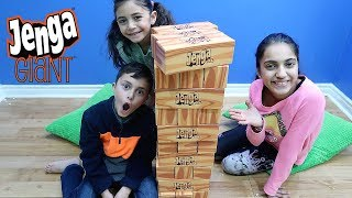 Playing giant Jenga challenge! Family fun game for kids HZHtube Kids Fun