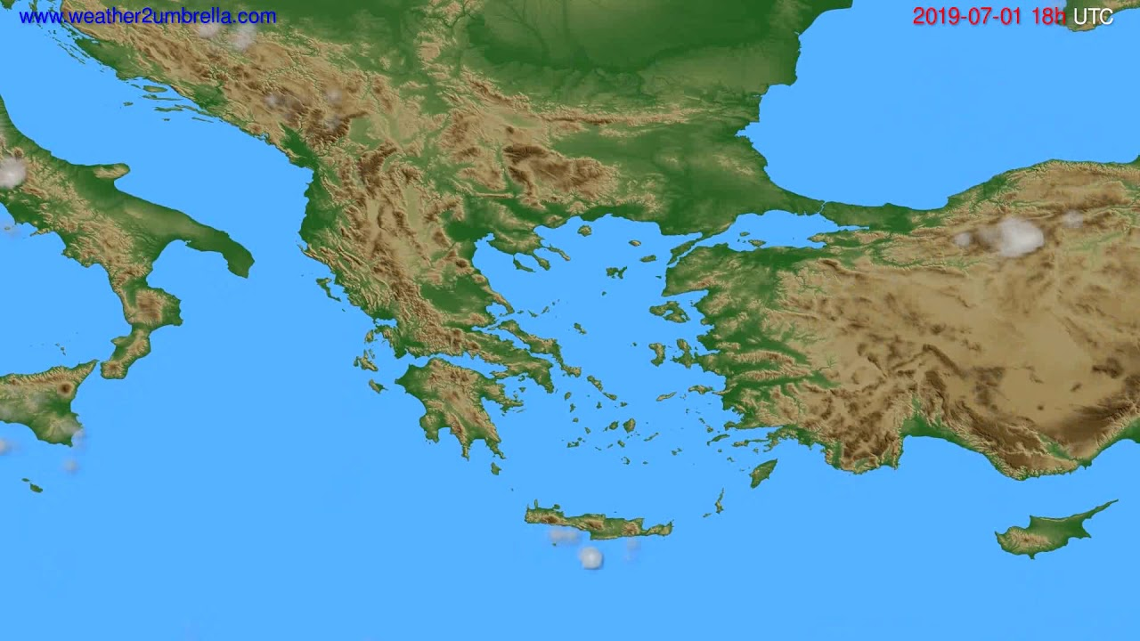 Cloud forecast Greece // modelrun: 00h UTC 2019-06-29