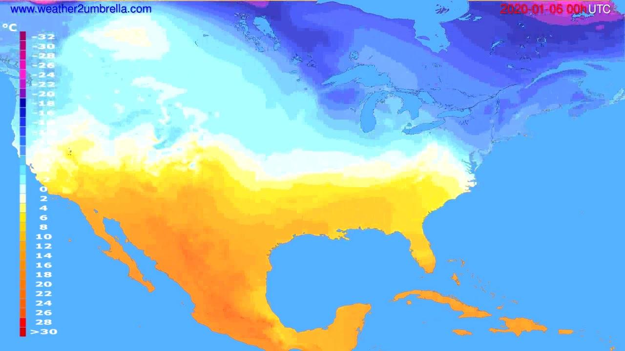 Temperature forecast USA & Canada // modelrun: 00h UTC 2020-01-05