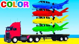 FUNNY PLANES on TRUCK in Spiderman Cars Cartoon for Kids & Col...