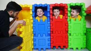 Yusuf ve Dayısı Saklambaç Oynadılar | Kids playing Hide and Seek with colored puzzle