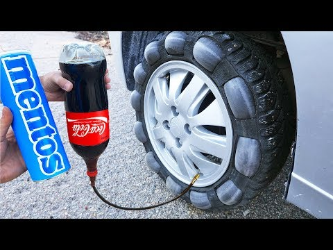COCA COLA and MENTOS in a CAR TIRE