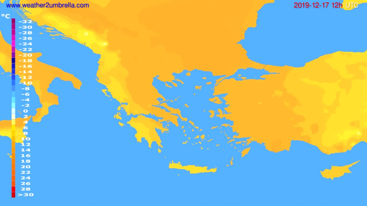 Temperature forecast Greece // modelrun: 12h UTC 2019-12-16