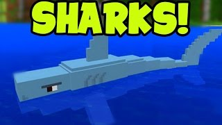"SHARKS!! Minecraft Pocket Edition "" SHARK"" PE Mob! // MCPE Shark Mob Addon Pack!"