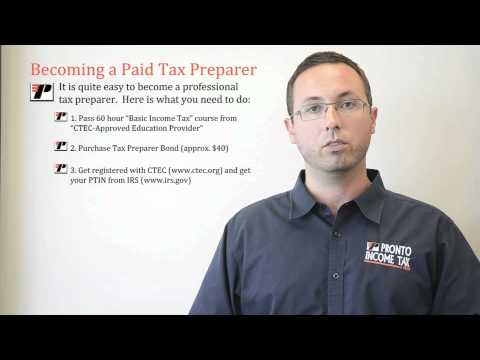 Tax Professional - http://ProntoTaxClass.com ...How Can I Become a Tax Preparer? In this video Andy Frye explains how to get legal to do taxes for pay. All tax preparers must g...