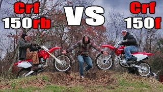 1. Crf150r VS Crf150f ! (Race, Wheelies, Jumps, Sound, Review)