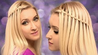 Waterfall braid hairstyle for medium/long hair tutorial ✿ For beginners, on yourself - YouTube