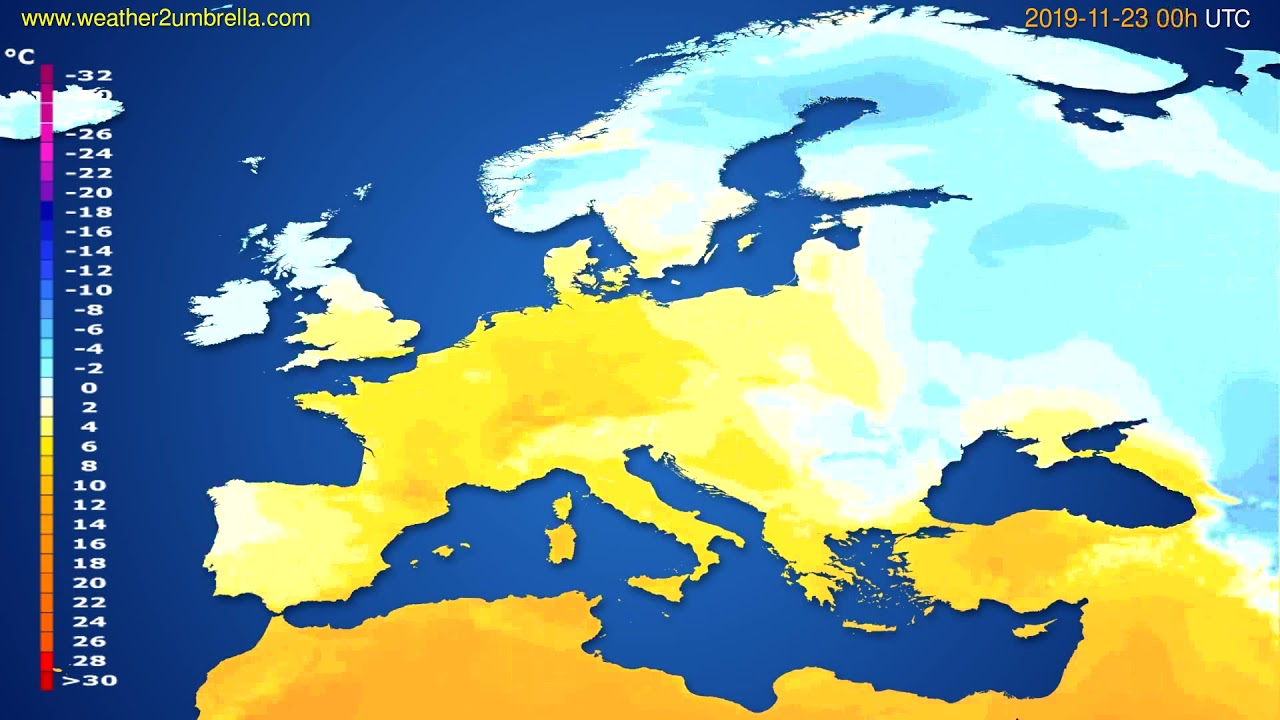 Temperature forecast Europe // modelrun: 00h UTC 2019-11-22