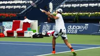 Watch Roger Federer train with Dustin Brown, look ahead to the 2017 Dubai Duty Free Tennis Championships and Benoit Paire, his first round opponent.
