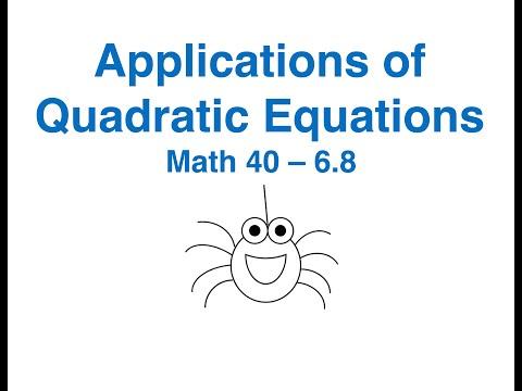 Math 40 6.8 Applications of Quadratic Equations