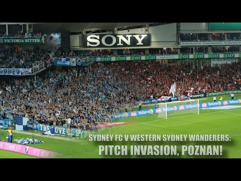 western - The Cove invades the pitch after Sydney FC came from two goals down to overcome 10-man Western Sydney Wanderers 3-2 in a gripping derby in front of a full house at Allianz Stadium on Saturday...
