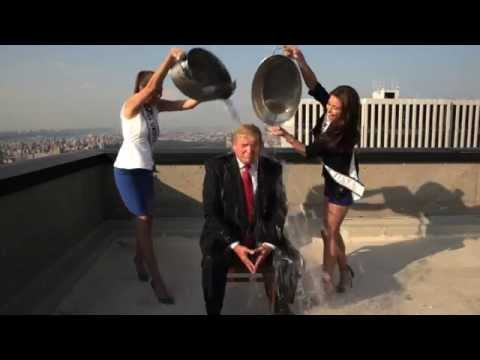 Donald Trump - Donald Trump accepts the ALS Ice Bucket Challenge from Vince McMahon, Mike Tyson and Homer Simpson from the rooftop of Trump Tower.