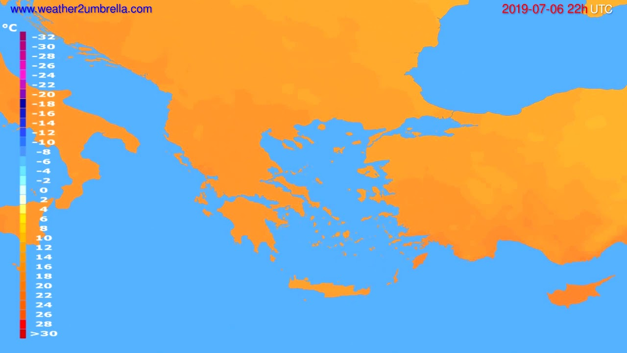 Temperature forecast Greece // modelrun: 12h UTC 2019-07-04