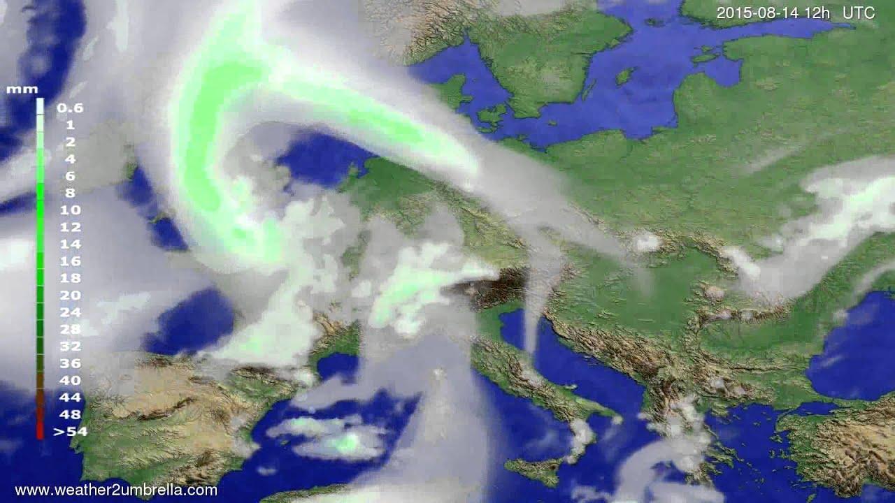 Precipitation forecast Europe 2015-08-10