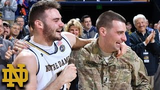Notre Dame's Matt Farrell was surprised by his brother, Bo, who was deployed in Afghanistan. Matt and Bo's parents were in ...