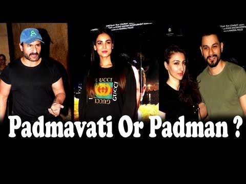 Saif Ali Khan, Soha Ali Khan, Kunal Khemu & Sonal Chauhan Reaction On Film Pad Man Vs Padmavat