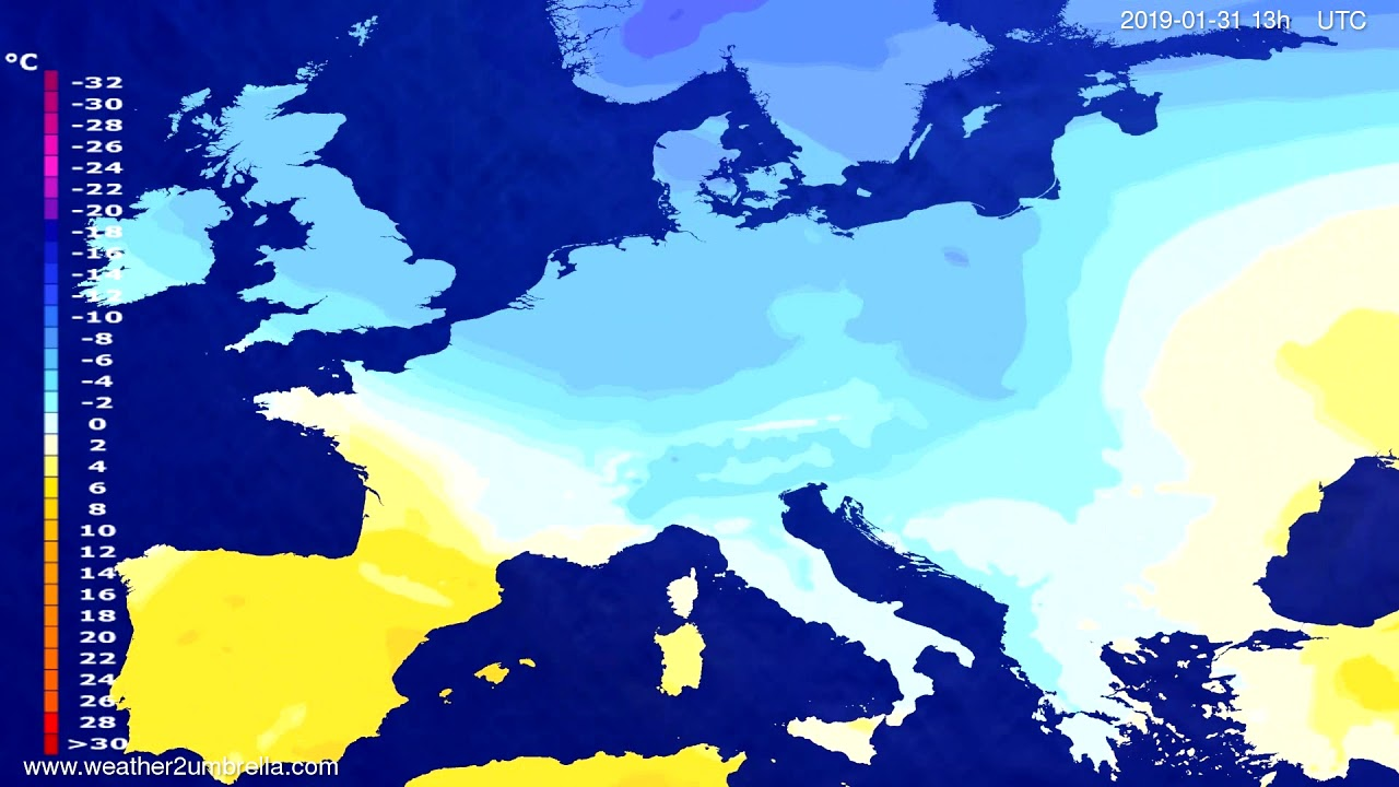 Temperature forecast Europe 2019-01-30