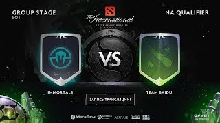 Immortals vs Team Baidu, The International NA QL [Jam, Maelstorm]