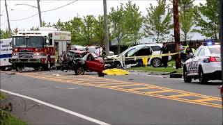 MEDFORD, NY (Suffolk County, Long Island) August 14th 2017 Three people died in a two-vehicle crash and four others, ...