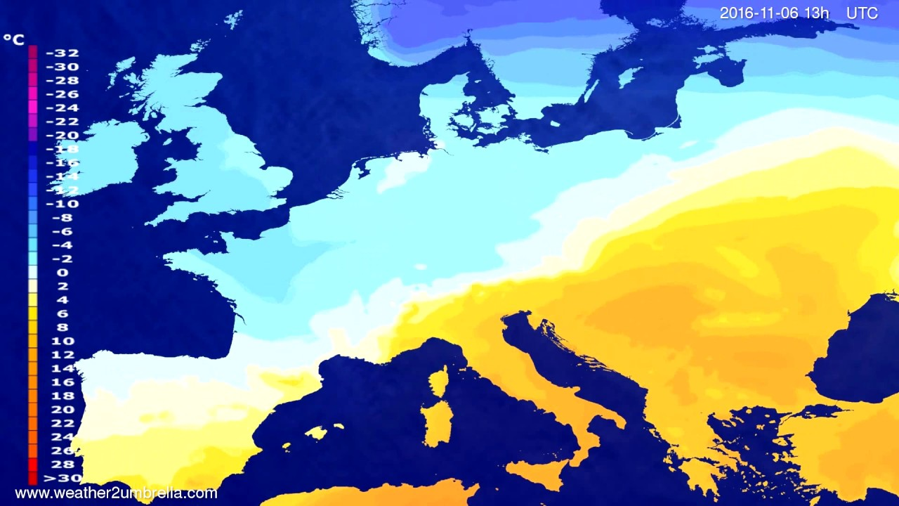 Temperature forecast Europe 2016-11-03