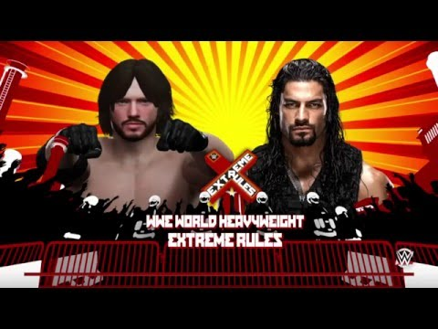WWE 2K16 WWE Undisputed Championship Extreme Rules Match Simulation Roman Reigns (c) Vs AJ Styles
