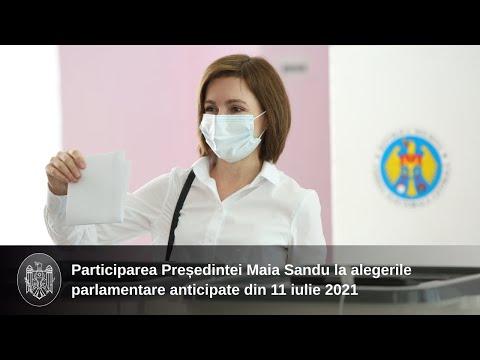 Обращение Президента Республики Молдова Майи Санду после участия в голосовании на досрочных парламентских выборах 11 июля