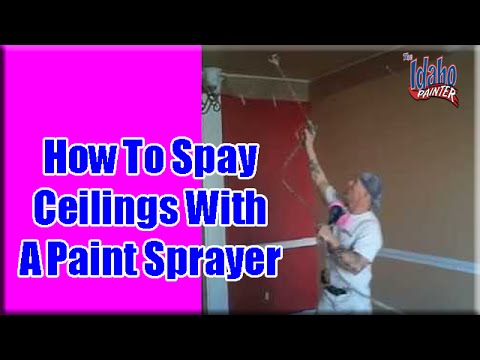 SPRAYING - How to spray ceilings with a Graco 695 airless sprayer. A good fast method to use on interior ceilings. Video on spraying the gutters on a single story house...