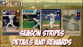 Going over the details for Season Stripes and showing off the potential rewards!!  Leave a Like and Subscribe for MLB The Show 17!➠Twitter - https://twitter.com/KPritz21Check out my MLB The Show 17 Playlists!➠ Ranked Seasons - https://www.youtube.com/playlist?list=PL5AHVL-omk8OB2IzhUoDwOmGViHd4BYvC➠ Epics, Missions, Packs & Programs - https://www.youtube.com/playlist?list=PL5AHVL-omk8PzjCnMDW8Efqr-wuc_sydQ➠ Road To The Show - https://www.youtube.com/playlist?list=PL5AHVL-omk8PmZI0c52cTu0iLCTt7OZ5hThanks for Watching!!