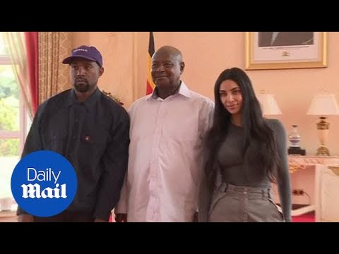 Kanye West presents Ugandan President with a pair of Yeezys