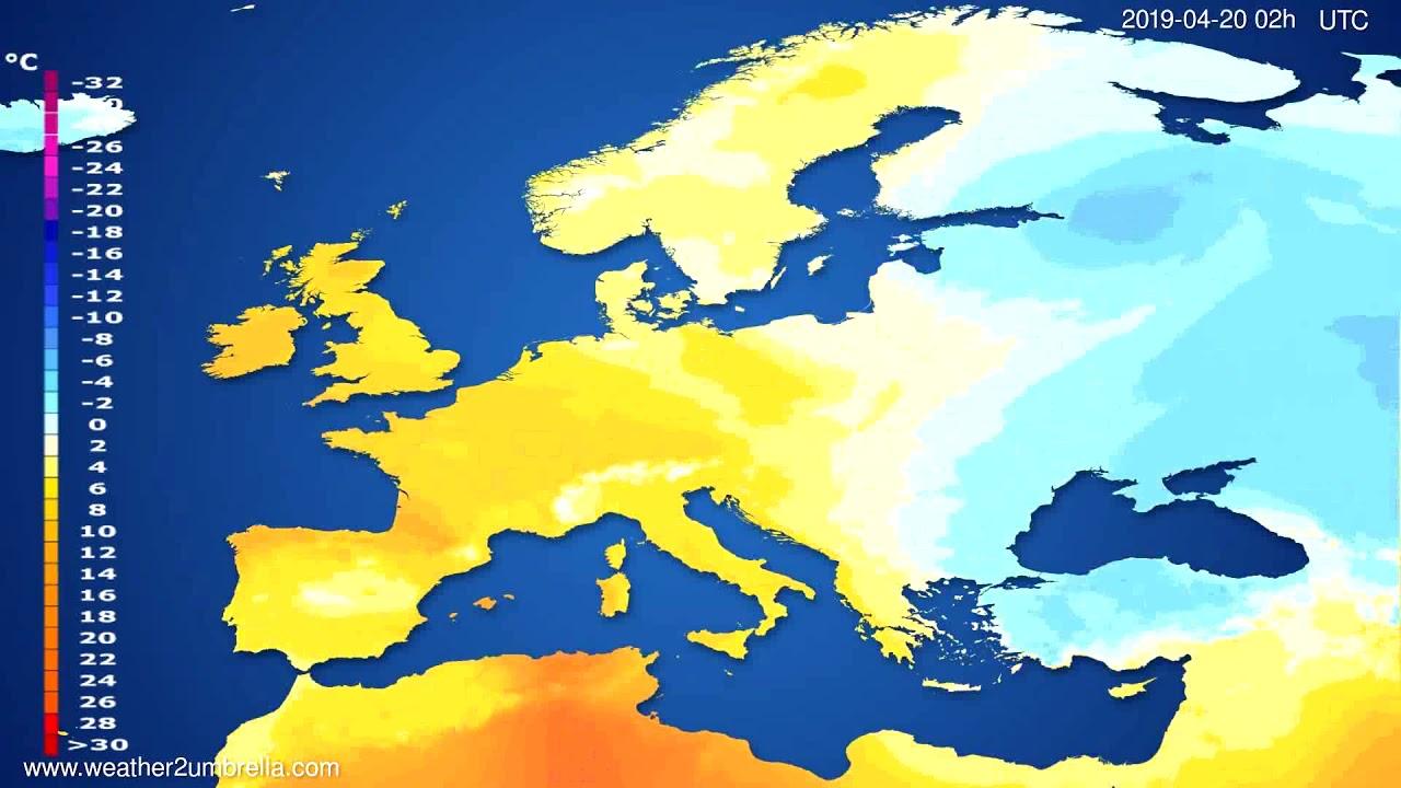 Temperature forecast Europe // modelrun: 00h UTC 2019-04-17