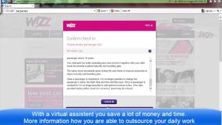 online and web check in with Wizzair (English version)