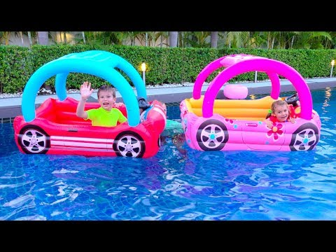 Kids build a play toy house and throw it to the pool